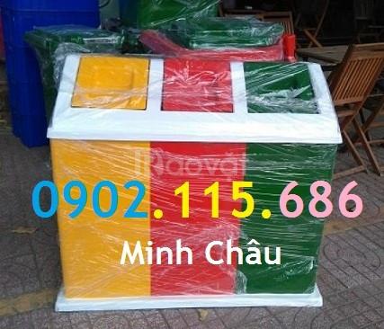 Thùng phân loại rác 3 ngăn, thùng rác 3 ngăn, thùng rác 3 màu (ảnh 3)