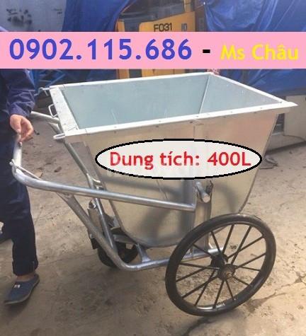 Xe chở rác bằng tôn, xe rác tôn 400L, xe rác tôn