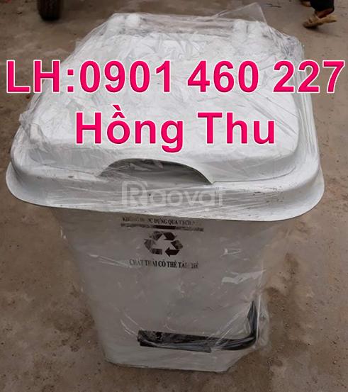 Thùng rác 60 lít nhựa HDPE, thùng rác 60 lít màu xanh dương đạp chân