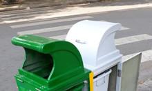 Thùng rác composite 2 ngăn 2 màu, thùng phân loại rác 2 ngăn composite