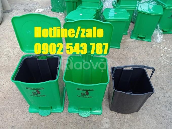 Thùng rác 15 lít đạp chân, thùng rác 20 lít đạp chân 4 màu y tế