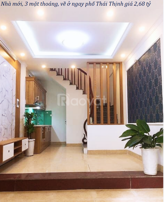 Nhà mới, 3 mặt thoáng, về ở ngay phố Thái Thịnh giá 2,68 tỷ