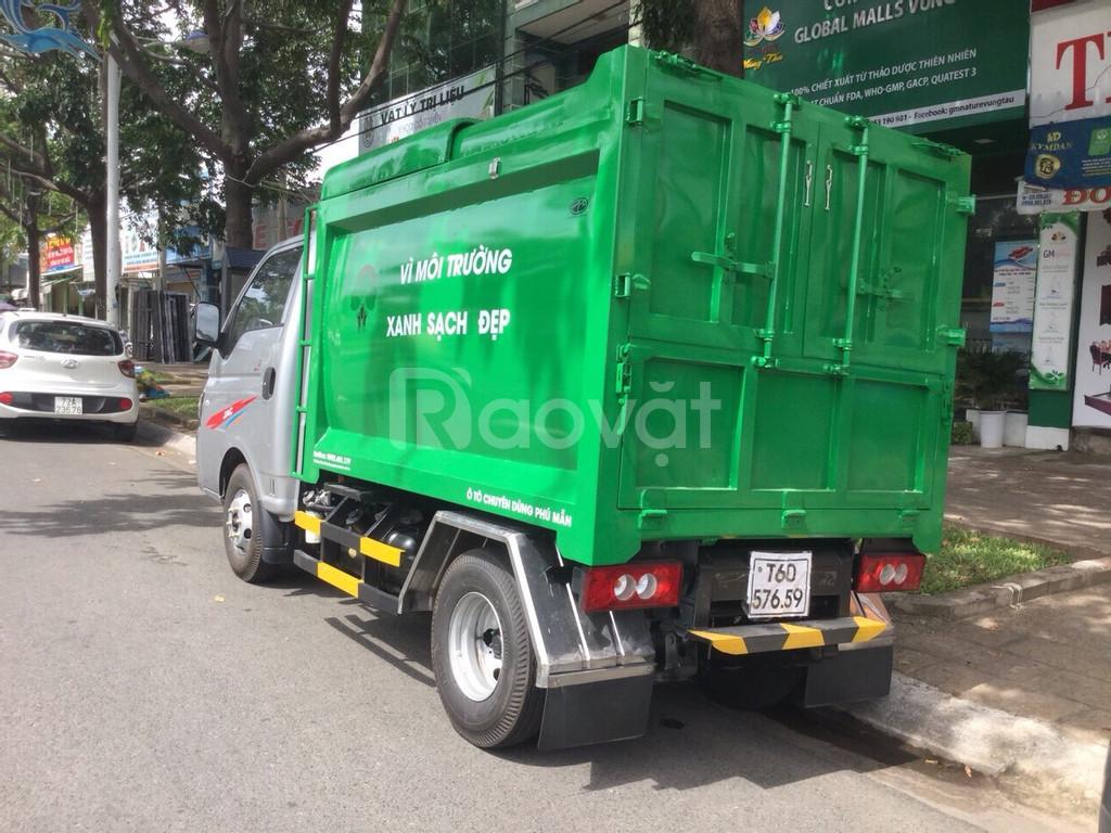 Xe ben chở rác jac 1.4 tấn thùng 3 khối vào đường hẽm