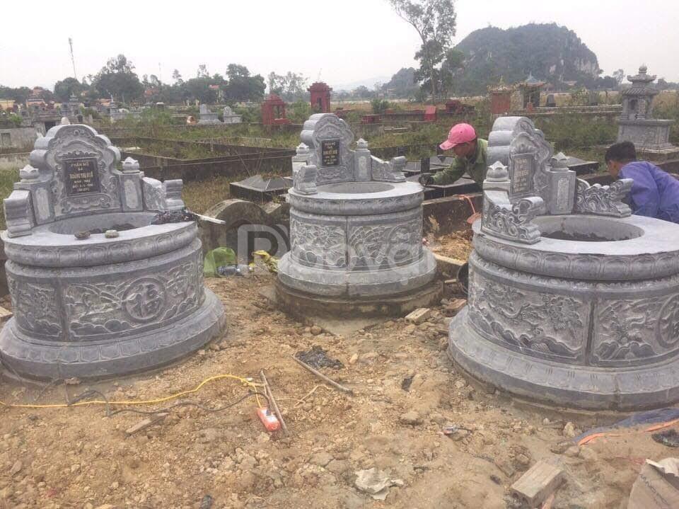 Mẫu mộ tròn bằng đá đẹp chạm khắc hoa văn tinh xảo