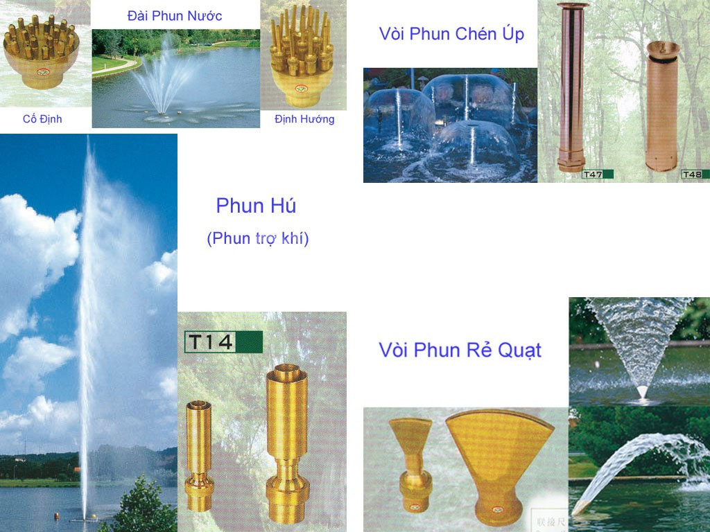 Vòi phun nước nghệ thuật các kiểu trong hồ nhân tạo