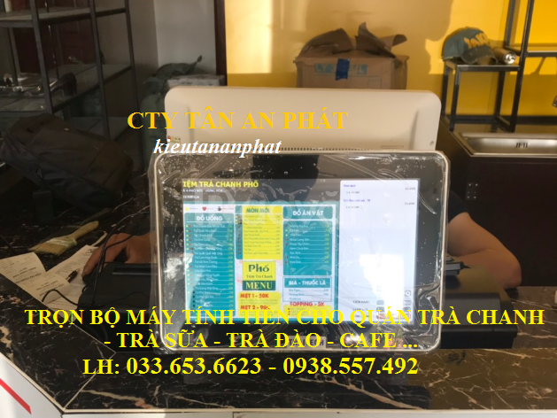 Máy pos tính tiền 2 màn hình cho quán Trà chanh bụi phố giá rẻ