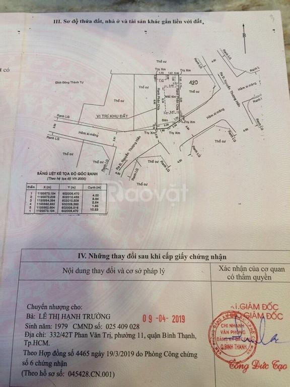 Bán lô đất 99/2A3 Nguyên Thượng Hiền, Phường 5, Quận Bình Thạnh