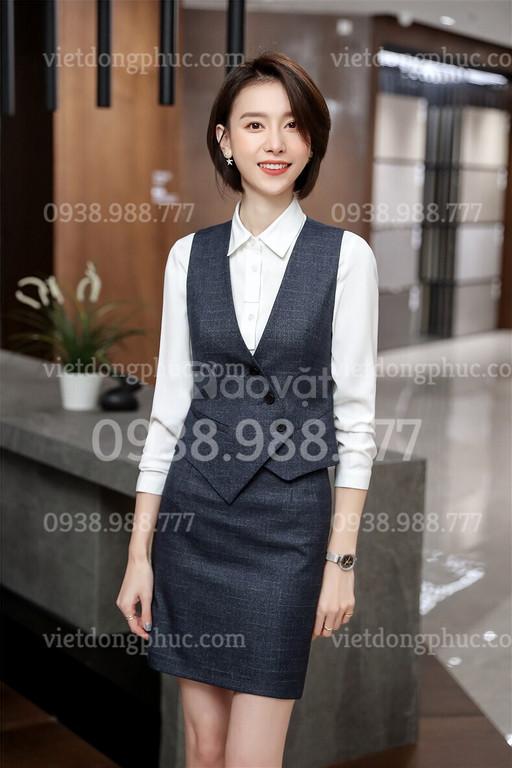 May đồng phục áo Gile nữ theo yêu cầu, đa dạng chất liệu, mẫu mã