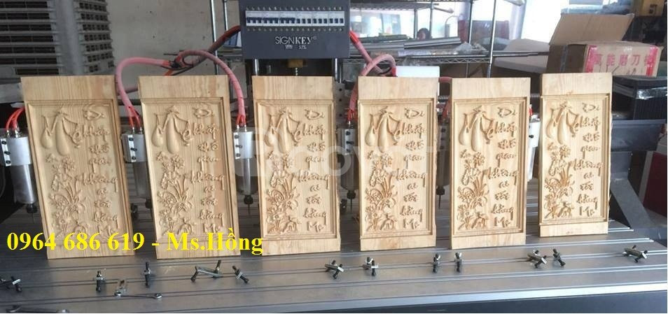 Máy đục gỗ vi tính 6 đầu, máy cnc 6 đầu, máy chạm khắc 6 đầu