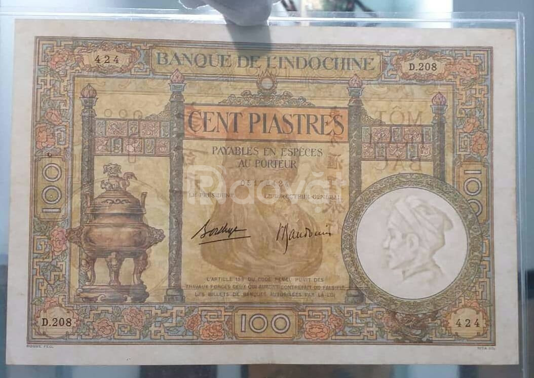 100 đồng lư chữ ký 4 thời Pháp thuộc 1939 chất lượng đẹp