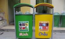 Thùng rác nhựa treo đôi, thùng rác treo 2 ngăn, thùng rác treo đôi 80L
