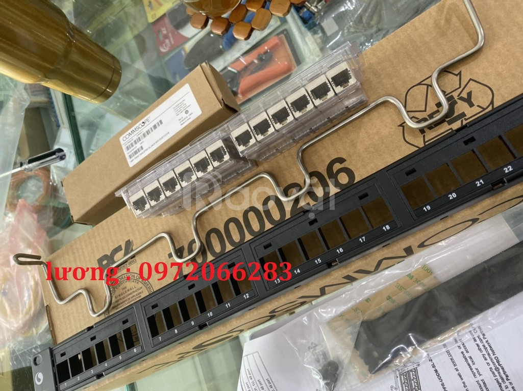 Patch Panel CAT6A AMP (Commscope) chống nhiễu, 24 port. Part number: 1