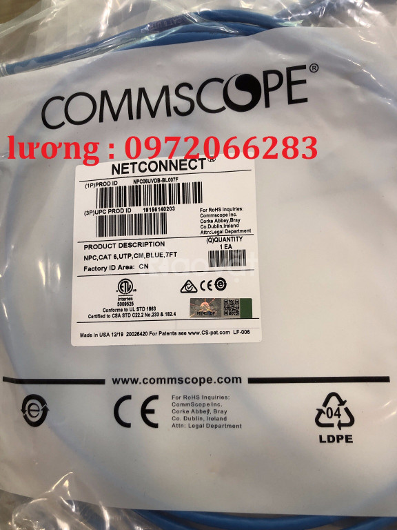 Patch Cord Commscope Cat6 2.1m mã 1859247-7