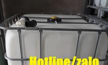 Tank nhựa hóa chất 1000l; bồn chứa hóa chất 1000l có khung thép