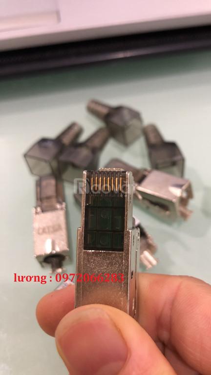 Đầu bấm hạt mạng Cat6A STP không dùng Tool, chống nhiễu Shielded, khôn