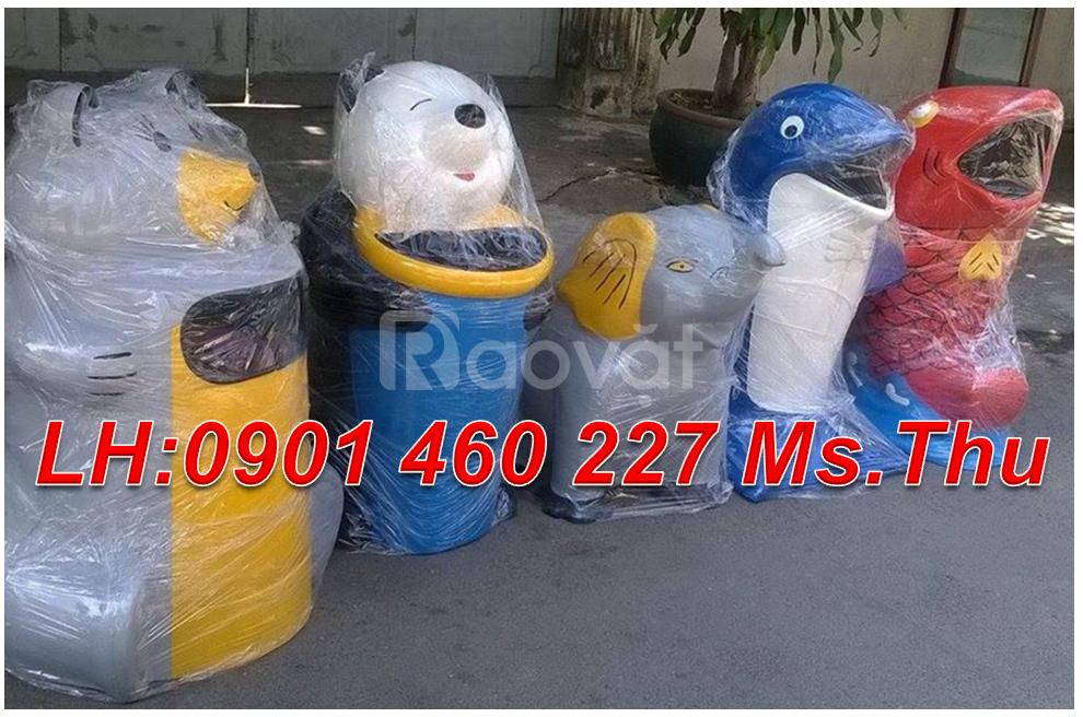 Thùng rác con vật nhựa chống cháy, thùng rác con thú công nghiệp
