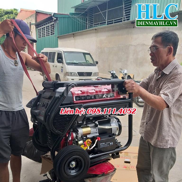 Máy phát điện chạy xăng giá rẻ có đề, tay kéo, bánh xe di chuyển