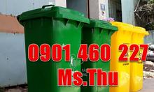 Thùng rác 120l có bánh xe kéo rác, thùng rác 240 lít màu xám quận 10