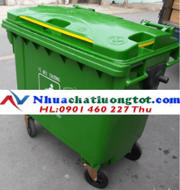 Thùng rác công cộng 1000 lít, xe đẩy rác 660 lít composite