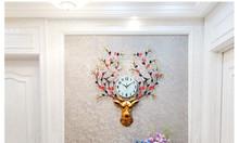 Đồng hồ trang trí hươu mùa xuân