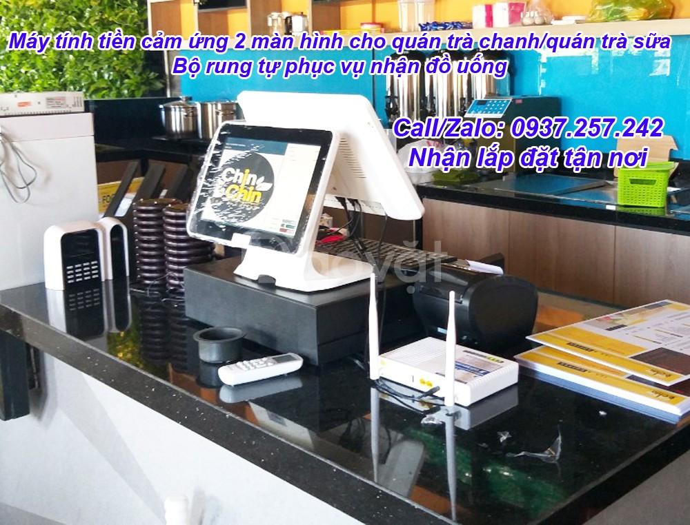 Máy tính tiền cảm ứng 2 màn hình cho quán trà chanh / quán trà sữa