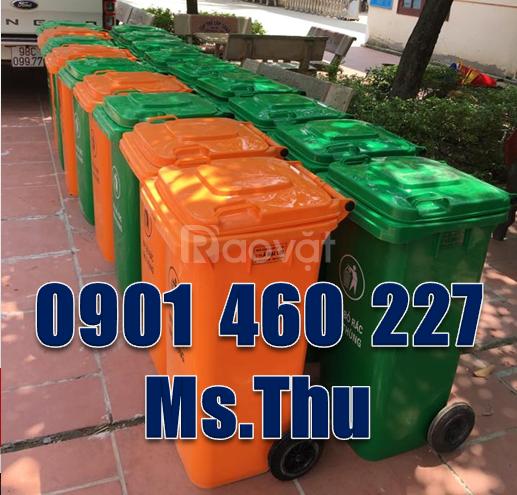 Thùng rác nhựa 240l trong phòng trọ,thùng rác công viên 2 bánh xe