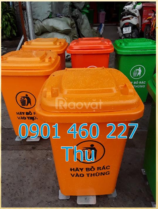 Thùng đựng rác nhựa 60 lít HDPE, thùng rác 60 lít y tế có bánh xe
