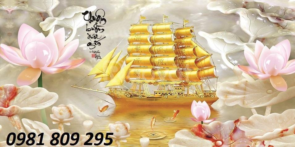 Tranh 3d thuyền buồm vàng sứ ngọc