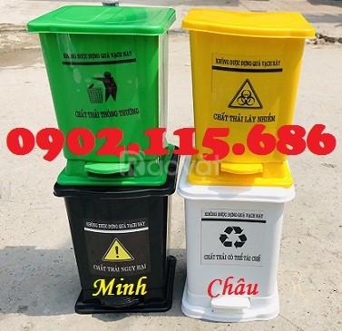 Thùng rác y tế 15 lít, thùng rác đạp chân 15 lít, thùng phân loại rác