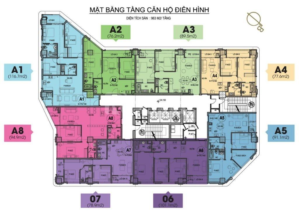Bán căn 3PN ban công Đông Nam tầng cao chung cư 55 Lê Đại Hành