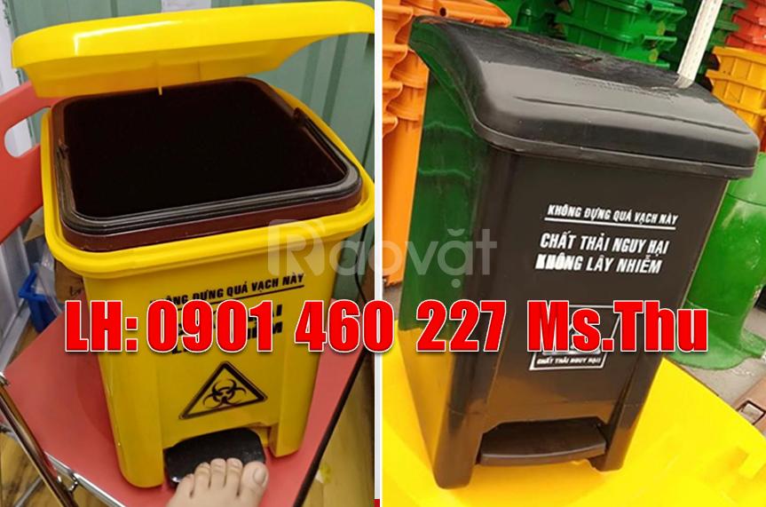 Thùng rác y tế 20 lít nhựa HDPE, thùng rác nhựa y tế 15 lít đạp chân