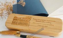 Bộ bút bi vỏ tre khắc tên quà tặng sang trọng, thanh lịch