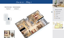 Căn hộ 68 m2 khu Ruby, tầng cao chung cư Goldmark City