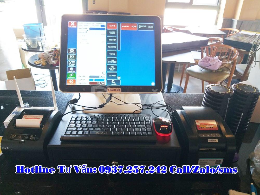 Máy tính tiền cảm ứng 2 màn hình cho quán trà sữa, trà chanh
