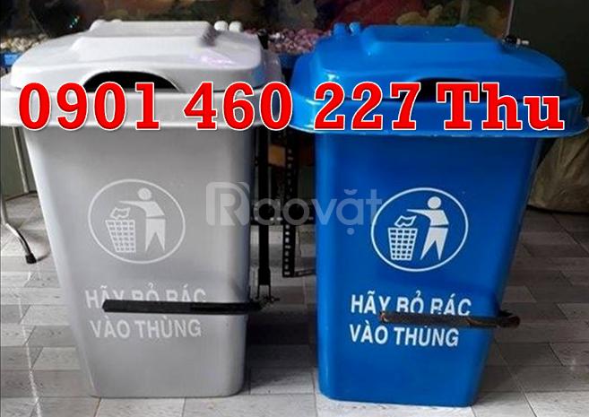 Thùng rác 60L y tế màu đen, thùng rác 60L màu trắng