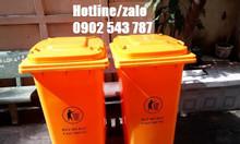 Thùng rác 120l màu cam; thùng rác 120 lít màu cam HDPE