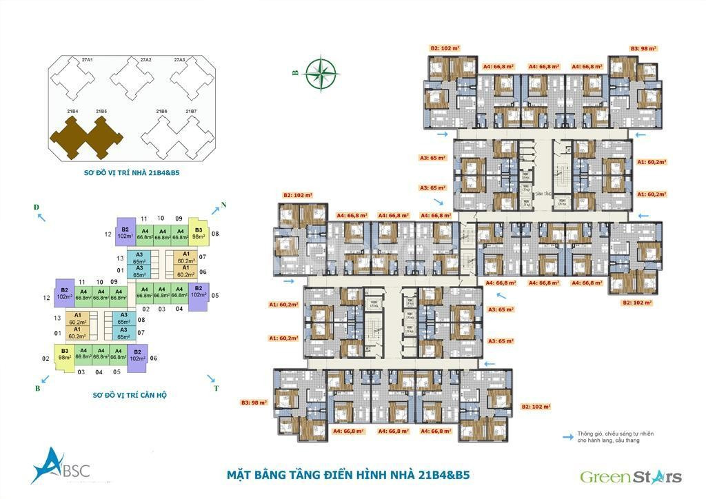 Căn hộ số 10 tòa B5 tầng trung view thoáng chung cư Green Stars