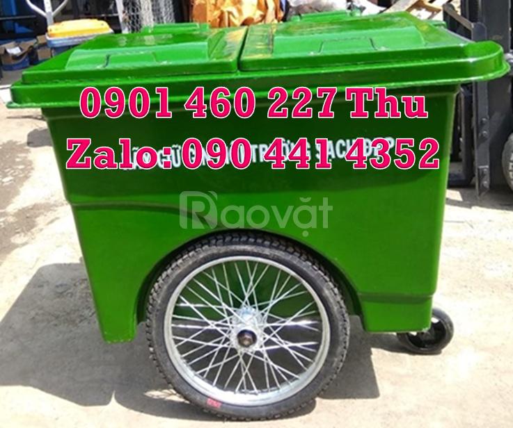 Thùng rác 660 lít y tế 3 bánh xe màu vàng,thùng rác y tế 1000 lít vàng