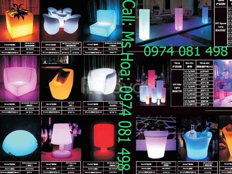 Bàn ghế cafe led phát sáng, bàn ghế nhựa đổi màu