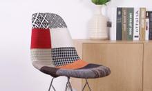 Ghế nhựa bọc vải thổ cẩm chân xi mạ, ghế nhựa thổ cẩm chân gỗ sồi