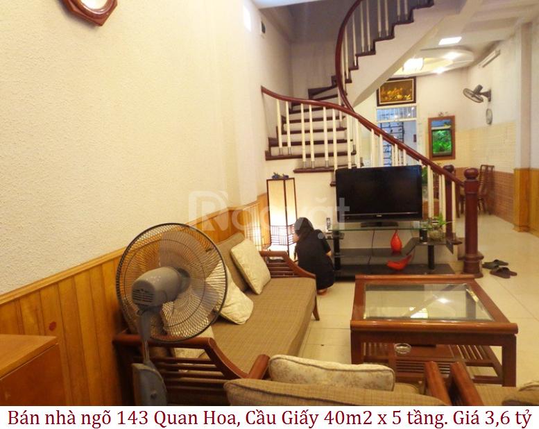Bán nhà ngõ 143 Quan Hoa, Cầu Giấy 40m2 x 5 tầng. Giá 3,6 tỷ