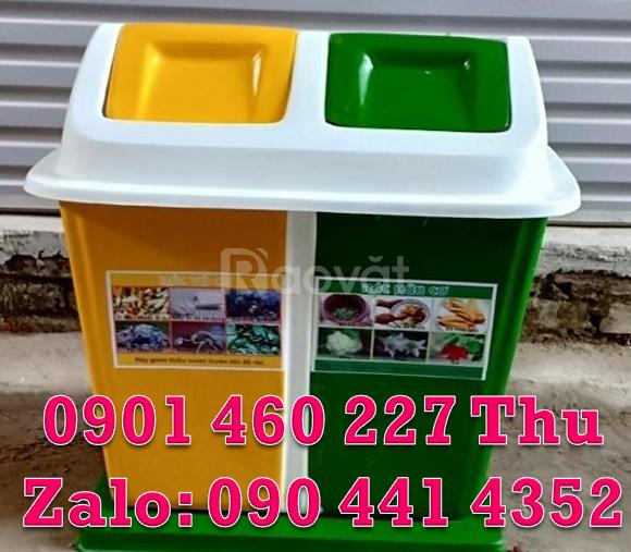 Thùng rác phân 3 loại rác bằng nhựa,thùng rác phân loại nhựa 2 ngăn