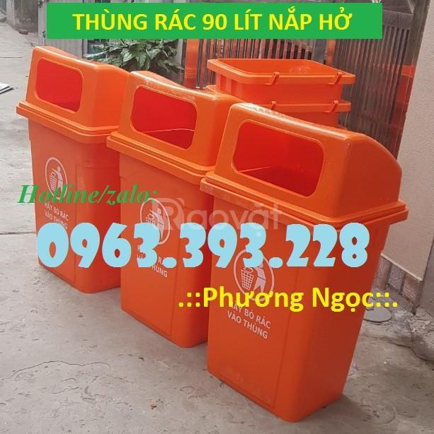 Thùng rác 90 Lít nắp hở, thùng rác nhựa HDPE, thùng rác công cộng