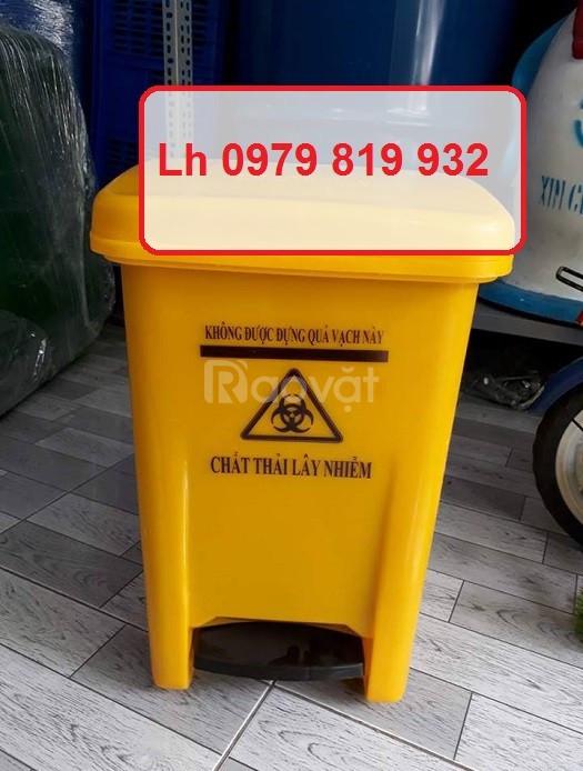 Thùng rác y tế 20 lít xanh lá có đạp chân y tế