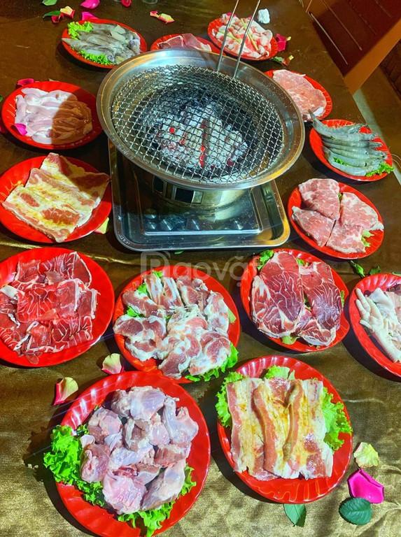 Bếp nướng than hoa đặt âm bàn kềm vỉ Inox giá rẻ cho quán nướng