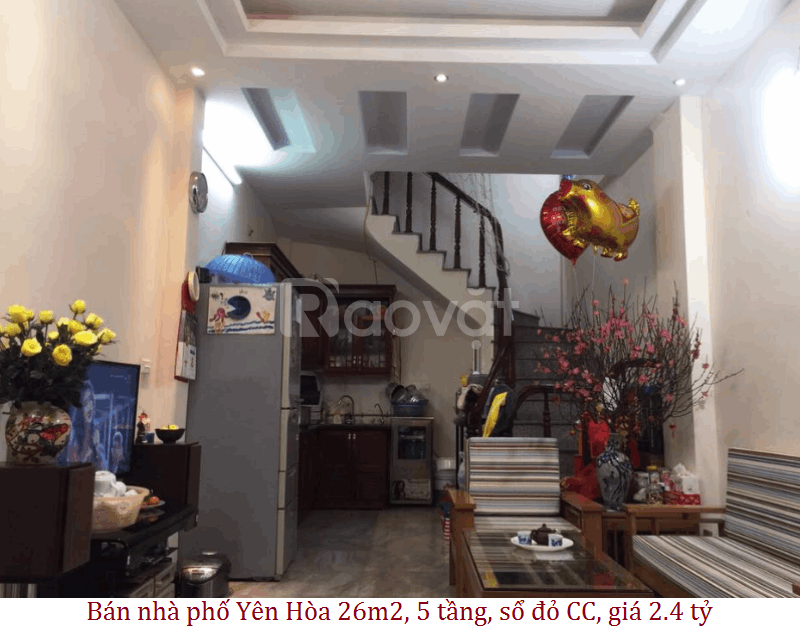 Bán nhà phố Yên Hòa 26m2, 5 tầng, sổ đỏ CC, giá 2.4 tỷ