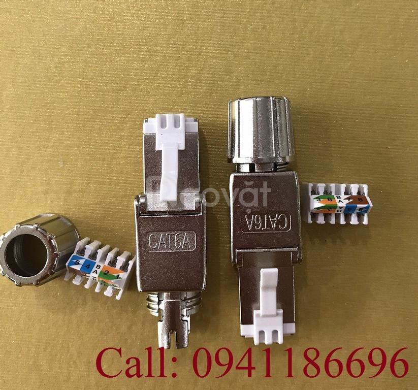 Đầu bấm hạt mạng Cat6A STP không dùng Tool, chống nhiễu Shielded