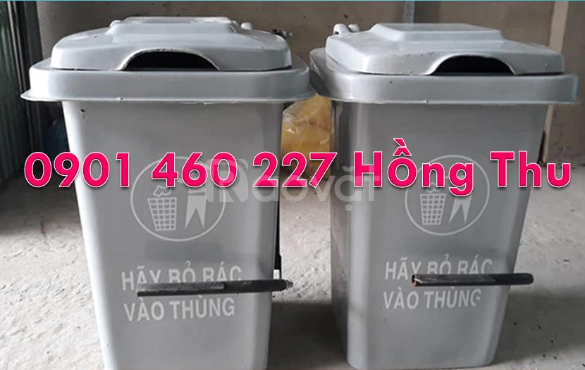 Thùng rác 60 lít màu xanh dương không bánh xe,thùng rác HDPE 60 lít