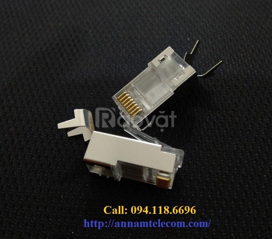 Đầu bấm hạt mạng Sắt Cat6A/Cat7 chống nhiễu FTP có đuôi