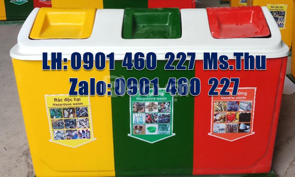 Sản xuất thùng rác 3 ngăn, 2 ngăn nhựa nắp bập bênh